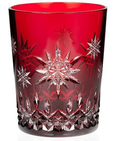 Waterford Drinkware, Snowflake Wishes for Joy Double Old Fashioned Glass Ruby Prestige Edition - Waterford Christmas - Dining & Entertaining. Crystal Glassware, Crystal Vase, Waterford Crystal, Crystal Gifts, Waterford Glasses, Vase Cristal, Cranberry Glass, Old Fashioned Glass, Crystal Meanings