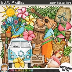 "Tropical island summer clip art and line art bundle! ""Island Paradise"" includes 27 tropical summer clipart illustrations created from my original hand painted artwork! Each design comes supplied as a full colour png, as well as black and white outline versions (in png and jpeg formats)."