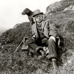 Composer Edvard Grieg hiking in the Norwegian mountains.