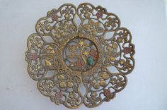 Vintage Judaica filigreed and carved brass plate by shainkeit