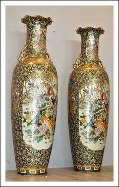 Vasi Satsuma ceramica dipinta grandi dimensioni