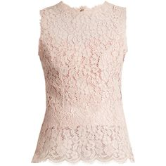 Dolce & Gabbana Round-neck sleeveless Cordonetto-lace top ($1,295) via Polyvore featuring tops, light pink, light pink top, flower top, light pink lace top, slimming tops and flower lace top