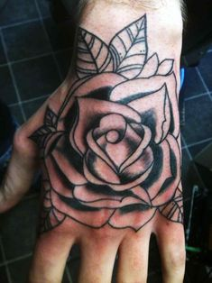 Flower Tattoos For Guys Rose For Men Inspirational 31 Rose Tattoos Hands For Men Rose Tattoos Tumblr, Rose Tattoos For Men, Blue Rose Tattoos, Hand Tattoos For Women, Black Ink Tattoos, Trendy Tattoos, Mens Hand Tattoos, Men Tattoos, Black Rose Tattoo Meaning
