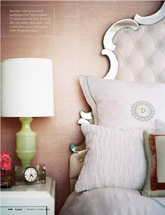 Mirrored Bed Frame + textured wallpaper