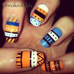 tribal/aztec nail art