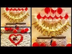 Anniversary Decoration Ideas at home Anniversary Party Decorations, Balloon Decorations Party, Valentines Day Decorations, Anniversary Parties, Birthday Decorations, Romantic Anniversary, Happy Anniversary, Anniversary Ideas, Hopeless Romantic Quotes