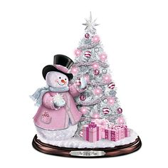 Gift Of Hope Tabletop Christmas Tree - Breast Cancer Awareness Snowman And Pre-Lit Christmas Tree