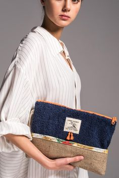 Sailor - Waterproof Beach Clutch Bag by Vinge Project Greece With Kids, Tote Bags, Clutch Bags, Diy Clutch, Creation Couture, Summer Bags, Cotton Bag, Fashion Handbags, Evening Bags