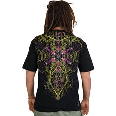 ATOMIC GENERATOR men's psytrance t-shirt, psychedelic print, cubes, geometric shapes, honeycomb, electronic chip, Handmade, Materials: t shirt, man, printed, silkscreen, cotton