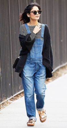 The Jean Scene On Hudgens: Finlay & Co. Thurloe Sunglasses ($310); Wildfox Essentails Slouch Cardigan ($168); Michael Stars Long Sleeve Striped Crop Top ($88); Big Star Jordan Denim Overalls...