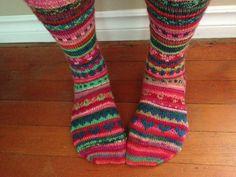 Ravelry: squarejane's Stranded Monster Socks 3/13