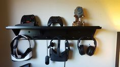 Entry shelf becomes storage rack for VR headsets (Oculus Rift and Gear VR) and controllers and headphones.  Shelf: https://smile.amazon.com/gp/product/B001KN6VZY/  virtual reality
