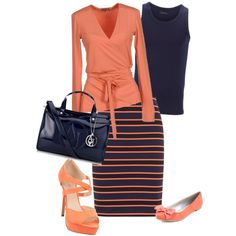 """""""Navy and peach"""" another great outfit Classy Outfits, Beautiful Outfits, Casual Outfits, Cute Outfits, Work Fashion, Modest Fashion, Fashion Outfits, Womens Fashion, Style Fashion"""