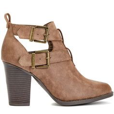 ShoeDazzle Booties Julina Womens Brown ❤ liked on Polyvore featuring shoes…