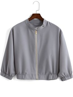 Shop Grey Stand Collar Zipper Crop Coat online. SheIn offers Grey Stand Collar Zipper Crop Coat & more to fit your fashionable needs.