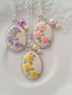 Spring floral hand embroidered pendant necklace by ConeBomBom