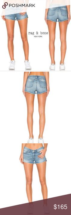 """NWT RAG & BONE Cut Off LA Quinta Denim Shorts 28 RAG & BONE CUT OFF : Cut Off W/Slits W1907K273LAQ La Quinta 100% Cotton Faded and worn-in to look like your favorite pair from the very first wear, laid-back denim shorts flaunt your legs beneath frayed, uneven cutoff hems.  - Five-pocket construction - Zip fly with button closure - Low rise - Medium wash - Whiskering and fading - Raw hem - Slits on the side of hem  - Machine wash cold Approximate measurements in inches  waist 16.5"""" front rise…"""