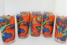 Lot of 8 Vintage Mod  Glasses Tumbler 1960s Psychedelic Colorful OneTLC