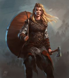 Female Viking Warrior 2, Raph Lomotan on ArtStation at https://www.artstation.com/artwork/female-viking-warrior-2