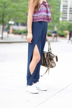 Salonie eve strapless tie top, Jonathon simkhai blue crepe slit pants, gold balenciaga bag, etnia barcelona sunglasses, office work chic outfits, trendy 2016 inspiration