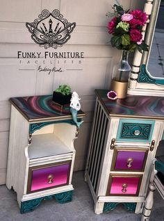 Shabby Chic Furniture In a family room, try to arrange your furniture into centers. Funky Painted Furniture, Refurbished Furniture, Paint Furniture, Repurposed Furniture, Unique Furniture, Shabby Chic Furniture, Furniture Decor, Furniture Removal, Painted Dressers