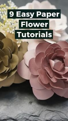 9 Easy Paper Flower Templates and TutorialsDIY Paper Flowers, cardstock for paper flowers, easy paper cutting flowers, paper flower DIYAprenda fazer! 🌹DIY Paper Flower Open On The WaterA simple tutorial to show you how Simple Paper Flower, Paper Flowers Craft, How To Make Paper Flowers, Large Paper Flowers, Paper Flowers Wedding, Crepe Paper Flowers, Diy Flowers, Flower Paper, Diy Paper Flower Backdrop