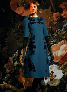 dolce-and-gabbana-fall-winter-2014-15-floral-embroidery-blue-dress.jpg (690×940)