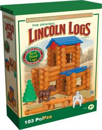 Build a lodge with attached stable! Grand Pine Lodge includes real wood logs plus colorful figures and play accessories, including a Cowboy Figure and Horse! This classic Lincoln Logs® set comes with building instructions and is packed in a handy storage container for quick and easy clean-up. For ages 3+.