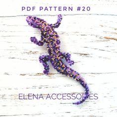 Lizard brooch necklece PDF brick stitch peyote pattern for miyuki delika & toho tresures seed beads Bead Crochet Patterns, Beading Patterns Free, Beaded Jewelry Patterns, Peyote Patterns, Beading Tutorials, Weaving Patterns, Bead Jewelry, Stitch Patterns, Bead Lizard