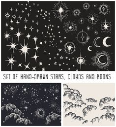Description: Set of hand drawn elements:clouds, moons, stars for your illustrations for bedtime stories, constellation maps, and hot air balloon festivals. For personal use. Free for download. File format: .ai for Photoshop or other vector software. File size: 5 Mb.