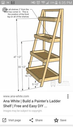 Painter's Ladder Shelf. Can use wooden boxes instead of building them? Painter's Ladder Shelf. Can use wooden boxes instead of building them? Diy Wood Projects, Furniture Projects, Furniture Plans, Diy Furniture, Woodworking Projects, Garden Furniture, Coaster Furniture, Retro Furniture, Farmhouse Furniture