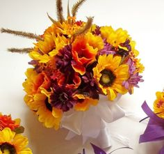 Wildflower Wedding Bouquet, Sunflower Bridal Bouquet, Bridesmaids Bouquet, Bout included with Bouquet