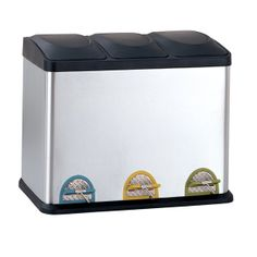 Organize It All 4903W-1 - Step-On Recycling Bin in Stainless Steel & Black (45L) | Sale Price: $113.99