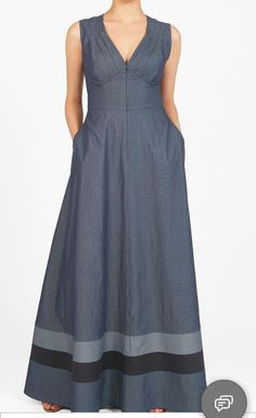 Cotton chambray falls gracefully into the pleated bodice and flowing skirt with contrast banded stripe hem of our maxi dress accented with a wide banded empire waist. Kurta Designs, Blouse Designs, Hijab Fashion, Fashion Dresses, Cotton Dresses, Maxi Dresses, Sleeveless Dresses, Simple Dresses, Dress Patterns