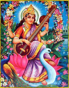 SARASVATI DEVI ॐ Saraswati Mata, Saraswati Goddess, Goddess Art, Saraswati Vandana, Durga Maa, Saraswati Picture, Lakshmi Images, Jr Art, Lord Vishnu Wallpapers