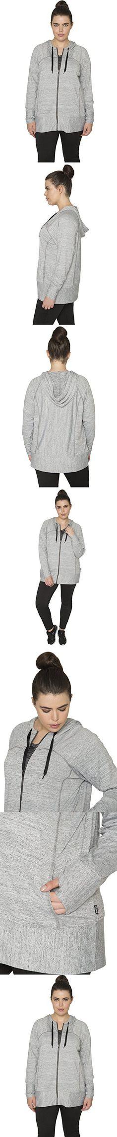 RBX Active Plus Size Women's Lightweight Sweater Zip Hoodie Jacket with Contrast Trim