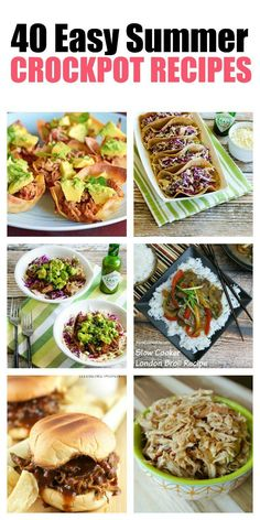 These easy summer crockpot recipes will keep you from slaving over a hot stove and will also free up your time to enjoy those lazy days of summer. From chicken and pork tacos to vegetarian dishes, there's a little something for everyone. All of these recipes are full meals, making dinners this summer a breeze. Click through to see all 40 recipes and start planning those summer meals! Soup Recipes, Summer Crock Pot Recipes, Camp Stove Recipes, Summer Vegetarian Recipes, Coctails Recipes, Supper Recipes, Paleo Recipes, Cooking Recipes, Sunday Recipes
