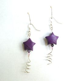 Origami Lucky Star Swirl Earrings   Purple by PaperImaginations, $15.75