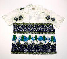 e13d2c0d4d67f Malihini Hawaiian Shirt Vintage Tiki Statues and Torches Polynesian Border  Print Aloha Shirt Tribal Batik Tapa Hawaii Luau Party