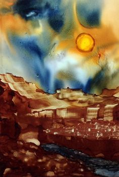 Alcohol ink painting. Copper Mountain. by KCsCornerGallery on Etsy, $35.00