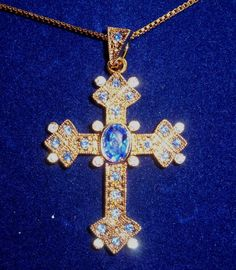 RARE Camrose & Kross Jacqueline Jackie Kennedy Queen Mother's Cross Pendant