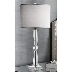 Deco Collection Gray Drum Shade 29-Inch-H Table Lamp - #EUY4760 - Euro Style Lighting