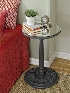 A DIY mirror-topped pedestal table costs a lot less to make than to buy one and only requires some simple materials.