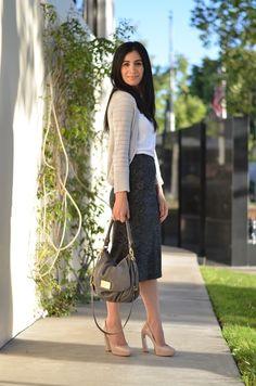 lace pencil skirt + cardigan