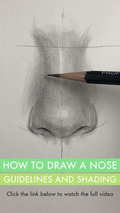 Drawing Eyes Videos And Nose - Drawing Art Drawings Beautiful, Art Drawings Sketches Simple, Pencil Art Drawings, Realistic Drawings, How To Shade Drawings, 3d Art Drawing, Nose Drawing, Painting & Drawing, Figure Drawing