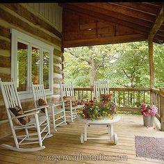 Rustic Cabin life.  Front porch.  Roger Wade Studio, Inc.