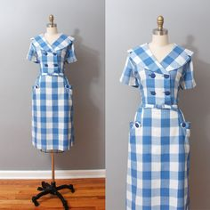 1950s Shirtwaist Dress  Blue Plaid Portrait by OldFaithfulVintage, $70.00