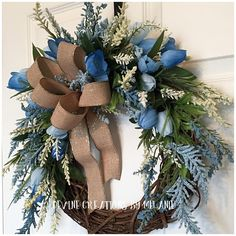 This blue and cream spring grapevine wreath is the perfect addition to your spring decor. It is simple yet absolutely beautiful at the same time. The blue tulips paired with blue and cream wispy filler stems are the perfect combination for to take you from spring to summer. The Easter Wreaths, Christmas Wreaths, Christmas Decorations, Turquoise Wreath, Deco Wreaths, Welcome Wreath, Wreath Crafts, Spring Crafts, Summer Wreath
