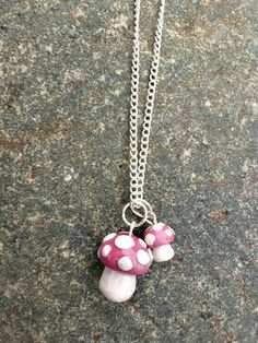 DIY clay mushroom necklace > makes tiny mushrooms as a signature thingy