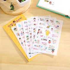 6 Pcs / Pack Girl With Short Hair And Happy Life Pvc Transparent Diary Scrapbooking Decorative Stickers Memo Pad